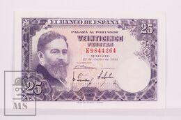 Banknote Spain -  25 Pesetas – July 1954 – Isaac Albeñiz, Music Composer - Condition VF - Pick 147a - 25 Pesetas