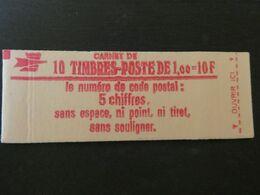 FRANCE Carnet N ° 1972 - C2 **  Type SABINE CONF 4 -  1,00 Fr. ROUGE -  CODE POSTAL AU VERSO - Cote : 23 Euros - Definitives