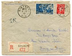 RC 18424 FRANCE N° 514 + 583 PETAIN / BEAUNE NON DENTELÉS SUR LETTRE DE SIMANDRE AIN 1943 - Postmark Collection (Covers)