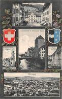 Brugg - Aarebrücke Schwarzer Turm Kirche Eisenbahn - 1913 - AG Aargau