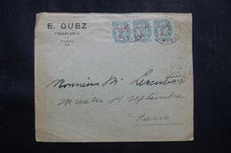 MAROC - Enveloppe Commerciale De Casablanca Pour Paris En 1913, Affranchissement Blancs En Bande De 3 - L 70169 - Lettres & Documents