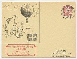Card / Postmark Denmark 1954 Air Balloon Flight Odense - Dragonfly - Vliegtuigen