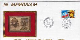 1995 / PLAQUE DOREE OR FIN / IN MEMORIAM  / DE GAULLE / COLOMBEY 1995 - De Gaulle (General)