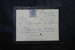 ESPAGNE - Enveloppe Pour La France En 1892 , Cachet D'entrée En France Par Irun - L 70182 - Briefe U. Dokumente