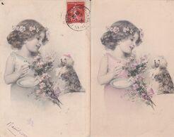 CPA CHIEN ,M.M.VIENNE N°175, (chien Et Fillette,) 2 Cartes écrites. - Hunde