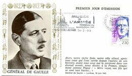 Thème Général De Gaulle - Flamme Temporaire PARIS ECOLE MILITAIRE - 24 Février 1990 (PJ Du Timbre) - Y 426 - De Gaulle (Generaal)