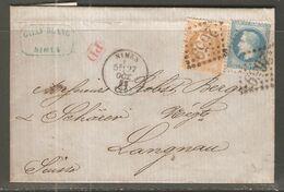 Lettre De 1868 ( France ) - 1863-1870 Napoleone III Con Gli Allori