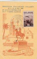 L4C005 ALGERIE 25ème Anniversaire Du Timbre Algérien YvT PA:13/CP Obl GF Exposition Philatélique Alger 10 11 1949 - Covers & Documents