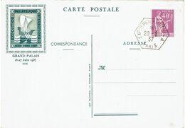 LRD3B-  EP CP PAIX 40c TSC PEXIP 1937 TEXTE VERT OBLITERE - Cartes Postales Types Et TSC (avant 1995)