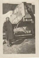 Rare Petite Photo 70 Mm X 48 Mm Début XX - Aviateur Pilote Et Son Avion Bimoteur Bréguet 14 Aéropostale - Scan R/V - Aviation
