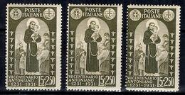 Italie YT N° 279 Trois Timbres Neufs ** MNH. TB. A Saisir! - 1900-44 Victor Emmanuel III