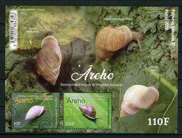 POLYNESIE 2020  Bloc N° 52 ** ( 1236/1237 ) Neufs MNH Superbes Faune Escargots Mollusques Pardula Nodosa Hyalina - Neufs