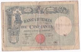 Banca D'Italia 50 Lire 1943, Alphabet : O 15 N° 014278, Circulé - 50 Lire