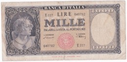 Banca D'Italia 1000 Lire 1947, Alphabet : E 227 N° 040782, Circulé - [ 2] 1946-… : Républic