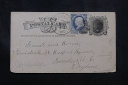 ETATS UNIS - Entier Postal + Complément De Wabash En 1882 Pour Londres Avec Repiquage Au Verso - L 70228 - ...-1900