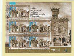 "RSM Fr. USATI 097 - San Marino 2011 - ""PAPA BENEDETTO XVI"" Foglietto 5v. Da € 1,00 - Gebraucht"