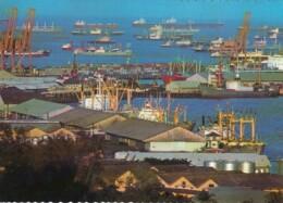 Singapore Harbour Busy Port Scene Cargo Ships, C1970s/80 Vintage Postcard - Singapore