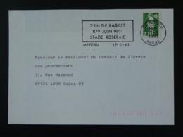 69 Rhone Meyzieu 25h De Basket 1991 (ex 1) - Flamme Sur Lettre Postmark On Cover - Basketball