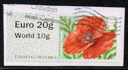 GB ATM,Michel# 72 I O Common Poppy (Papaver Rhoeas) - Great Britain