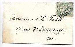 PARIS JOUR DE L'AN Griffe Annulation PARIS Sur 5c Blanc Enveloppe Mignonnette ....G - 1877-1920: Période Semi Moderne