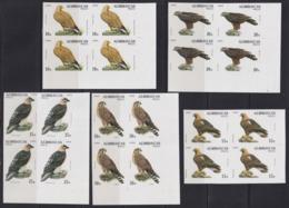 F-EX16835 AZERBAIJAN AZERBAIAN RUSSIA MNH 1994 IMPERF PROOF BLOCK 4 EAGLE BIRDS - Azerbaidjan