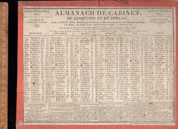 Calendrier Almanach De Cabinet 1820 Cabany Ainé Paris Avec Départs Des Diligences Et Coches Direction Des Postes - Groot Formaat: ...-1900