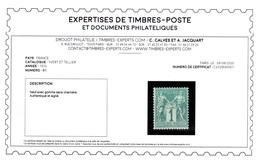 YV 61 N** Luxe , Jolie Centrage Et Fraicheur Postale , Signé Calves + Certificat , Pas Courant En N** Cote 185+++ Euros - 1876-1878 Sage (Type I)