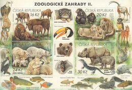 2017 Czech Republic Zoo Bears Lions Rhino Birds Fish Monkeys Souvenir Sheet MNH @ BELOW FACE VALUE - Tschechische Republik