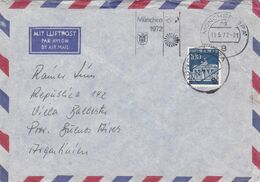 MUNCHEN 1972, JEUX OLYMPIQUES. ALLEMAGNE 1972, ENVELOPPE CIRCULEE A VILLA BALLESTER, ARGENTINE. PAR AVION -LILHU - BRD