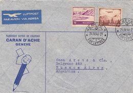 FABRIQUE SUISSE DE CRAYONS, CARAN D'ACHE. SUISSE 1946, ENVELOPPE CIRCULEE GENEVE A BUENOS AIRES, ARGENTINE -LILHU - Schweiz