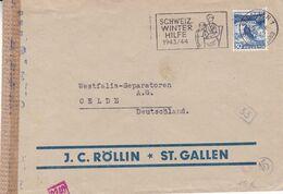 J.C. ROLLIN. SUISSE 1943, ENVELOPPE CIRCULEE ST GALLEN A OELDE, ALLEMAGNE. SCHWEIZ WINTER HILFE 1943/44 -LILHU - Brieven En Documenten