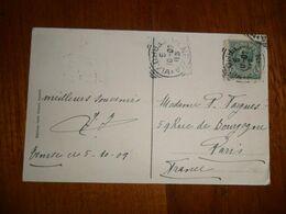 Italia REGNO  1909 Cartolina Per FRANCIA C. 5 ANNULLI TONDI RIQUADRATI - Storia Postale