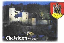 CHATELDON PUY DE DOME - LE CHATEAU 12EME SIECLE ( MONUMENT HISTORIQUE ) BLASON, PAP ENTIER POSTAL FLAMME LA POSTE 2012 - Châteaux
