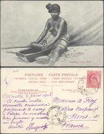 Carte Postale - Inde Britannique : Grindin Curry Stuff / Femme Seins Nus. Voyagée - India
