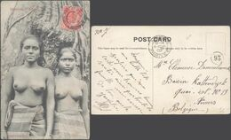 Carte Postale - Ceylon : Rhodiyas (Skeen Photo). 2 Jeunes Femmes Seins Nus / Voyagée. - Sri Lanka (Ceilán)
