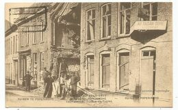 BELGIQUE CARTE GUERRE 1914 1915 RUINES DE POPERINGHE RUE DES FURNES  + TIMBRE A  DATE 20 AOU 1915 - Guerra '14-'18