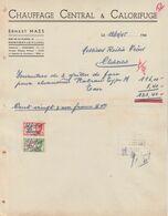 Facture - Ernest Maes - Chauffage Central & Calorifuge  - Montigny-le-Tilleul - 1945 - Straßenhandel Und Kleingewerbe