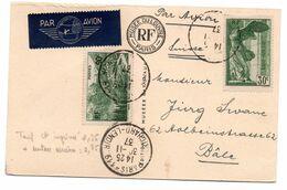 Carte Postale Par Avion Pour La Suisse - 1921-1960: Modern Tijdperk