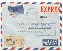 PA 200FR NORATLAS SEUL LETTRE REC AVION EXPRES POINTE A PITRE 13.8.1957 GUADELOUPE POUR ALLEMAGNE - Marcophilie (Lettres)
