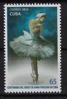 CUBA 2015. BALLET. CENTENARIO DEL DEBUT DE ANNA PAVLOVA EN CUBA. MNH. EDIFIL 6090 - Unused Stamps