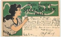 Publicité - Art Nouveau - Cafés Torréfiés Stolz & Riniker - Bâle - Publicidad