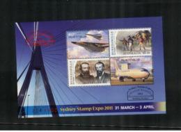 (stamps 27/8/2020)  Australia (4 Mint) Aviation / Burke & Willis (mini-sheet) - Sydney Stamp Show Expo 2011 - Aerei