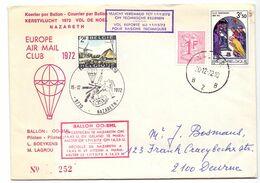 Enveloppe Omslag - Koerier Per Ballon Kerstvlucht 1972 - Nazareth - Maria Aalter - N° 252 - Montgolfier