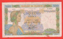 Francia 500 Franchi Francs 1942 France Ottobre La Paix - 500 F 1940-1944 ''La Paix''