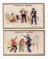 Chromo  CHOCOLAT MASSON    Lot De 2    Gendarme, Cul De Jatte, Peintre, Facteur Etc     10.5 X 6.5 Cm - Chocolate