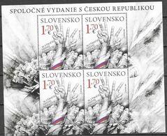SLOVAKIA, 2019, MNH,JOINT ISSUE WITH CZECHIA, VELVET REVOLUTION, MUSIC, GUITARS, SHEETLET OF 4v - Gemeinschaftsausgaben