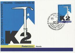 Spedizione K2 50esimo Anniversario Della Prima Salita 1954 Con Francobollo E Annullo Commemorativo FG  SP - Unclassified