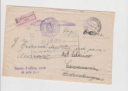 CROATIA, WW II ITALY SIBENIK  SEBENICO 1942 Registered Official Cover To KISTANJE CHISTAGNE - Croazia