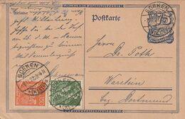 """Deutsches Reich / 1922 / Postkarte Mit Zusatzfrankatur Stegstempel """"BORKEN"""" (A071) - Germany"""