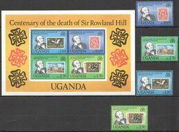 RR574 1979 UGANDA STAMPS ON STAMPS CENTENARY OF DEATH SIR ROWLAND HILL #254-7 MICHEL KB+SET MNH - Francobolli Su Francobolli